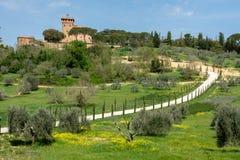 Villa della Toscana nella strada di bobina di Sping Cyrpess fotografie stock