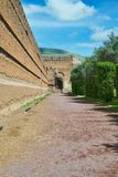 Ancient roman bricks wall stock photo