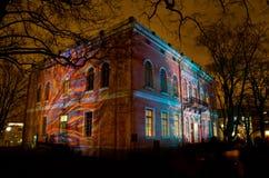 Villa di Hakasalmi illuminata Immagini Stock Libere da Diritti