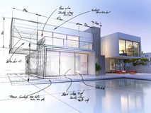 Villa draft. 3D rendering of a luxurious villa contrasting with a technical draft part Royalty Free Stock Photos