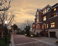 Villa at dusk. The villa in Evening china shanghai Stock Photography