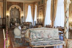 Villa Ephrussi de Rothschild interior. SAINT JEAN CAP FERRAT, FRANCE - OCTOBER 29, 2014: Villa Ephrussi de Rothschild interior stock photos
