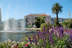 Villa Ephrussi de Rotschild garden. Villa Ephrussi de Rotschild on Saint-Jean-Cap-Ferrat near Nice in France, garden with fountain Stock Images
