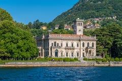 Villa Erba i Cernobbio, på sjön Como, Lombardy, Italien arkivbild