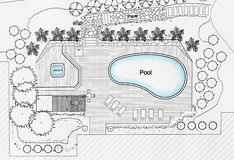 Villa för landskapsarkitektDesigns Pool For lyx royaltyfri bild