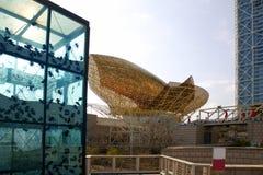villa för skulpturer för barcelona byggnader olimpic Arkivfoton