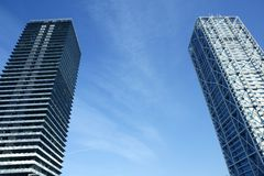 villa för skyskrapor för barcelona byggnader olimpic Arkivfoto