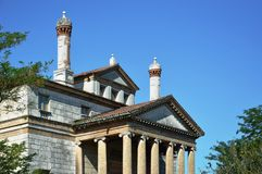 Villa Foscari, named La Malcontenta, designed by Andrea Palladio architect,. Year 1565, on Brenta river near Venice in Italy - aug 06 2014 Royalty Free Stock Photography