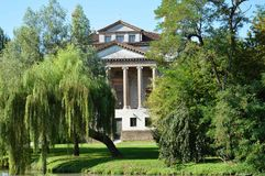 Villa Foscari, named La Malcontenta, designed by Andrea Palladio architect. Year 1565, on Brenta river near Venice in Italy - aug 06 2014 Royalty Free Stock Photos
