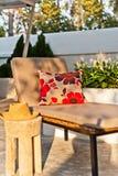 Villa garden with Sunlounger Stock Images
