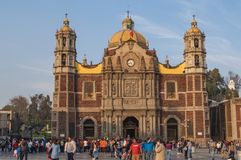 Expiatory Temple to Christ King before Antique Basilica of Guada. VILLA OF GUADALUPE, MEXICO CITY, DECEMBER 02, 2017 - Antique Basilica of Guadalupe, of Stock Image