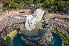 Fountain and sculpture of Juan Diego. VILLA OF GUADALUPE, MEXICO CITY, DECEMBER 04, 2017. Fountain and sculpture dedicated to the now Saint Juan Diego royalty free stock image