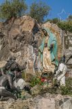The Offering to the Virgin of Guadalupe. VILLA OF GUADALUPE, MEXICO CITY, DECEMBER 04, 2017 - Monumental sculptural set entitled The Offering, designed by the royalty free stock image