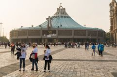 Pilgrimage to the Basilica of Guadalupe. VILLA OF GUADALUPE, MEXICO CITY, DECEMBER 02, 2017 - Pilgrims in the Atrium of the Americas. It is estimated that the Royalty Free Stock Photos