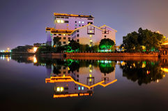 Villa,hotel. The night scene of yixing hotel in yixing city, jiangsu, China Royalty Free Stock Photography
