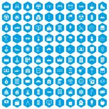 100 villa icons set blue. 100 villa icons set in blue hexagon isolated vector illustration stock illustration