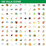 100 villa icons set, cartoon style. 100 villa icons set in cartoon style for any design vector illustration Stock Images