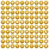 100 villa icons set gold. 100 villa icons set in gold circle isolated on white vector illustration Royalty Free Stock Images