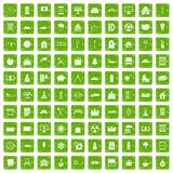 100 villa icons set grunge green. 100 villa icons set in grunge style green color isolated on white background vector illustration Royalty Free Stock Photo