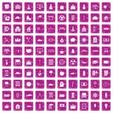 100 villa icons set grunge pink. 100 villa icons set in grunge style pink color isolated on white background vector illustration Royalty Free Stock Photos
