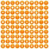 100 villa icons set orange. 100 villa icons set in orange circle isolated on white vector illustration royalty free illustration