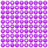 100 villa icons set purple. 100 villa icons set in purple circle isolated on white vector illustration stock illustration