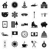 Villa icons set, simple style. Villa icons set. Simple set of 25 villa vector icons for web isolated on white background Royalty Free Stock Images