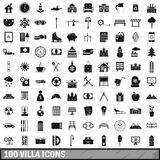 100 villa icons set, simple style Stock Photography