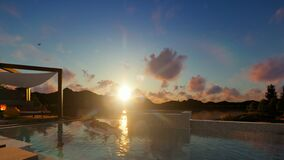 Villa with infinity pool and people relaxing, focus on breakfast, beautiful sunrise, 4K. Hd video stock footage