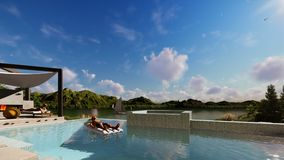 Villa with infinity pool and people relaxing, focus on breakfast, tilt, 4K. Hd video stock footage