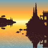 Villa at the lake. Illustration of an old villa with a view to the sea in the sunset Stock Photo