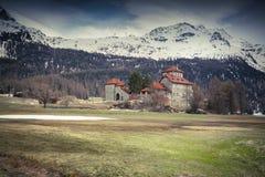 Villa on Lake Silvaplana, Alps, Switzerland Royalty Free Stock Photo
