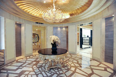Villa living room round table stock images