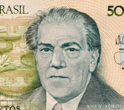 Villa Lobos. On 500 Cruzados 1987 Banknote from Brazil. Music composer refered as the single most significant creative figure in 20th century Brazilian art Stock Image