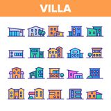 Villa luxueuse, ensemble linéaire d'icônes de vecteur de cottage illustration stock