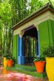 Villa Majorelle i Marrakech, Marocko Trädgårds- uteplats royaltyfri bild