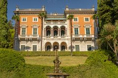 Villa Maria, residence built in neo Renaissance style in Griante, Como Lake Italy. royalty free stock photography
