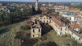 Villa Medolago Rasini, Limbiate le 18 janvier 2017, vue aérienne Photographie stock