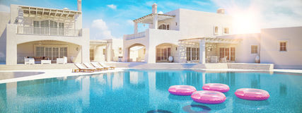 Villa met zwembad Het concept van de zomer het 3d teruggeven Royalty-vrije Stock Afbeelding