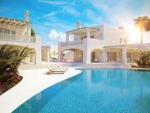 Villa met zwembad Het concept van de zomer het 3d teruggeven Royalty-vrije Stock Foto
