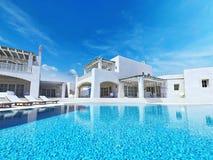 Villa met zwembad Het concept van de zomer het 3d teruggeven Stock Fotografie