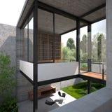 Villa minimalista moderna di estate illustrazione vettoriale
