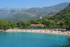 Villa in Montenegro. Beautiful villa in the trees and mountains near the sea Royalty Free Stock Photos