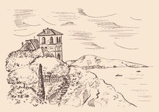 Villa on the mountain in the Mediterranean Sea. Hand drawn vector ink sketch. Villa on the mountain in the Mediterranean Sea. Hand drawn vector ink sketch Stock Photo
