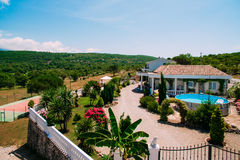 Villa in the mountains. Montenegro, Bay of Kotor. Shooting from Royalty Free Stock Photography