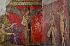 Villa of Mysteries fresco, Dionysiac frieze, Pompeii. Dionysiac frieze, Villa of the Mysteries, before 79 C.E., The fresco is thought to represent a ritual of Royalty Free Stock Photography