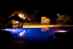 The Villa at night. Africat Foundation promoting large carnivore conservation and animal welfare Royalty Free Stock Photos