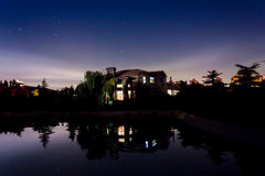 Villa night water surface and star. A villa near a lake with its reflection and the clean night sky. A lot of stars appear Stock Photos