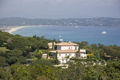 Villa over the gulf of Saint-Tropez royalty free stock photos