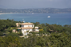 Villa over the gulf of Saint-Tropez Stock Photography